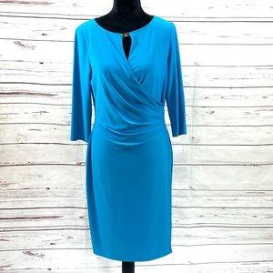 Ralph Lauren Ruched Jersey Dress Blue Size 12